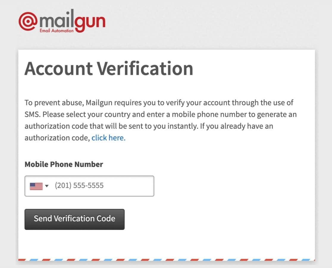 pantalla de verificación de cuenta de mailgun enviar correos electrónicos de WordPress con Mailgun