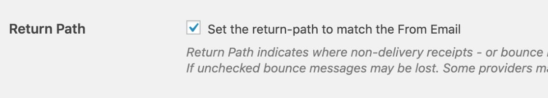Establecer ruta de retorno para coincidir con el correo electrónico