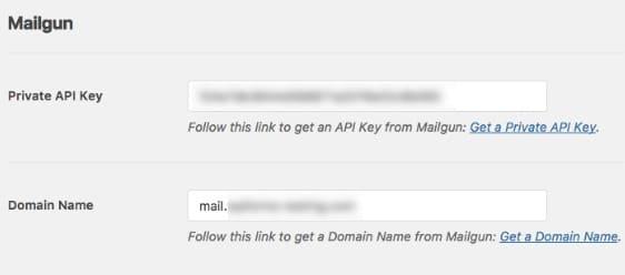 página de clave de api privada de mailgun
