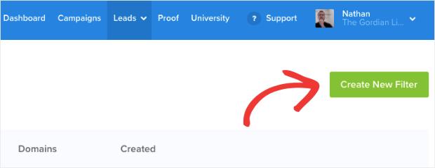 Crear nuevo filtro con verificación de clientes potenciales
