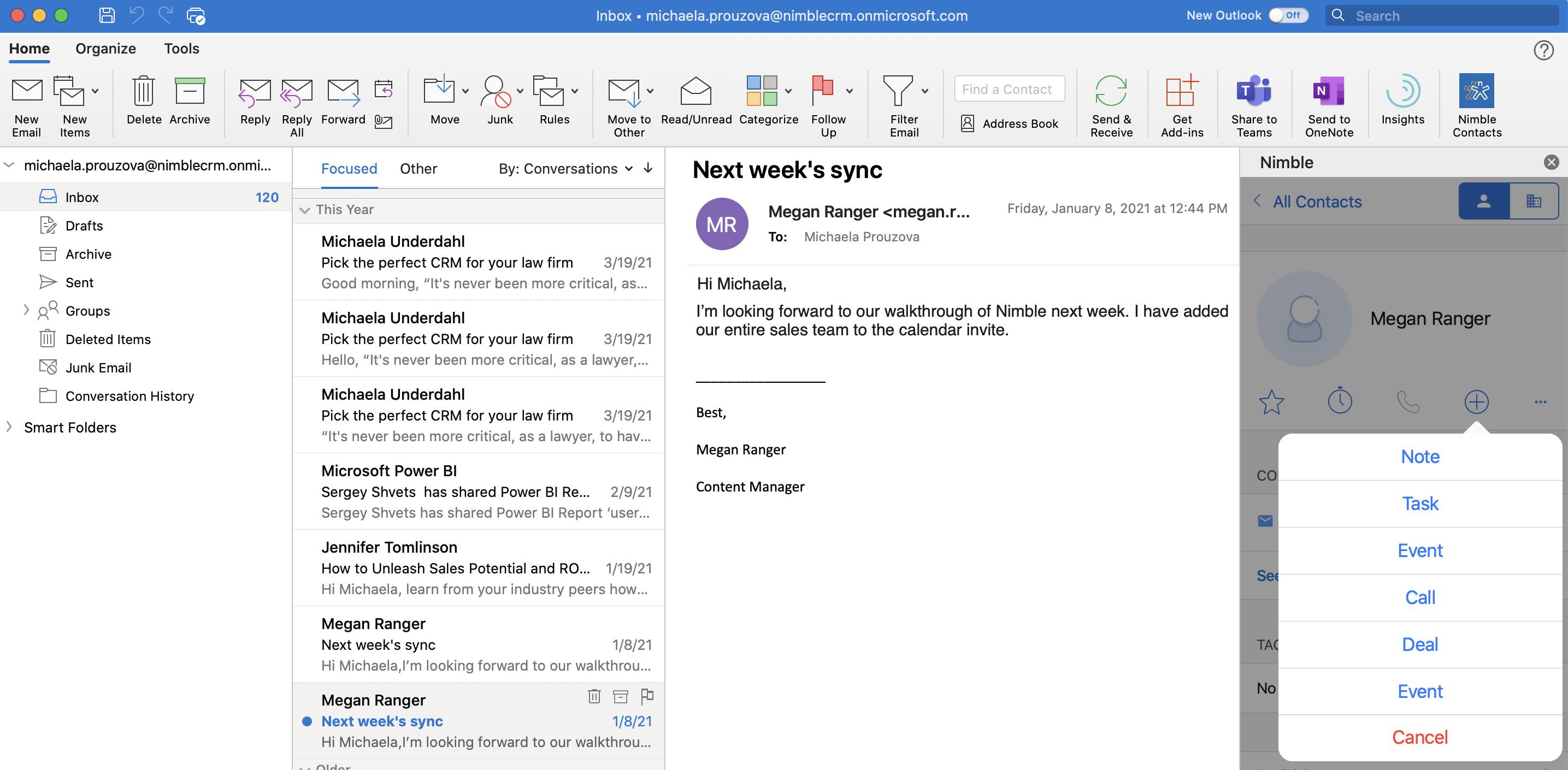 Captura de pantalla del complemento Nimble para Outlook