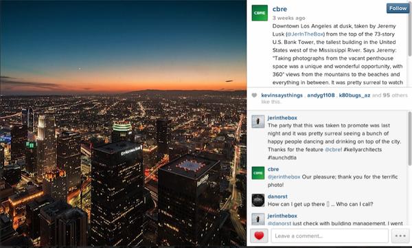 Publicación de CBRE en Instagram