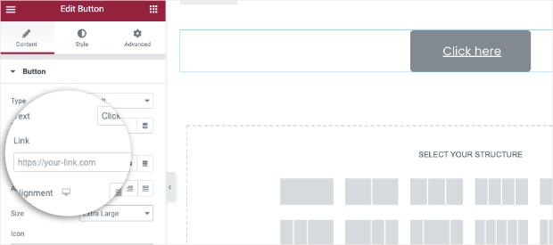 Agregue su enlace para el elemento o ventana emergente