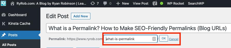 Cómo cambiar un enlace permanente en WordPress (captura de pantalla del editor clásico)