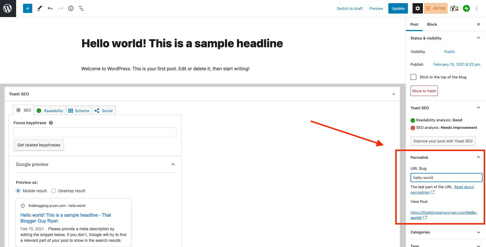 Cómo cambiar un enlace permanente en WordPress (captura de pantalla del editor Gutenberg)