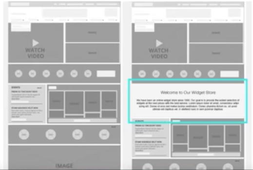 La imagen muestra una comparación de dos diseños de página de inicio: uno que muestra un diseño web compatible con SEO al incorporar un cuadro de texto para una copia optimizada con el diseño de página de inicio anterior que no lo hace.
