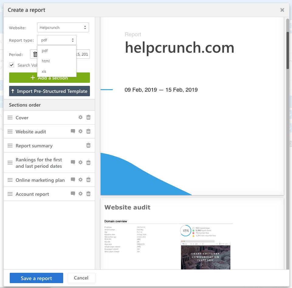 Ejemplo de creación de informes en helpcrunch