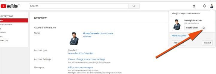configuración de youtube