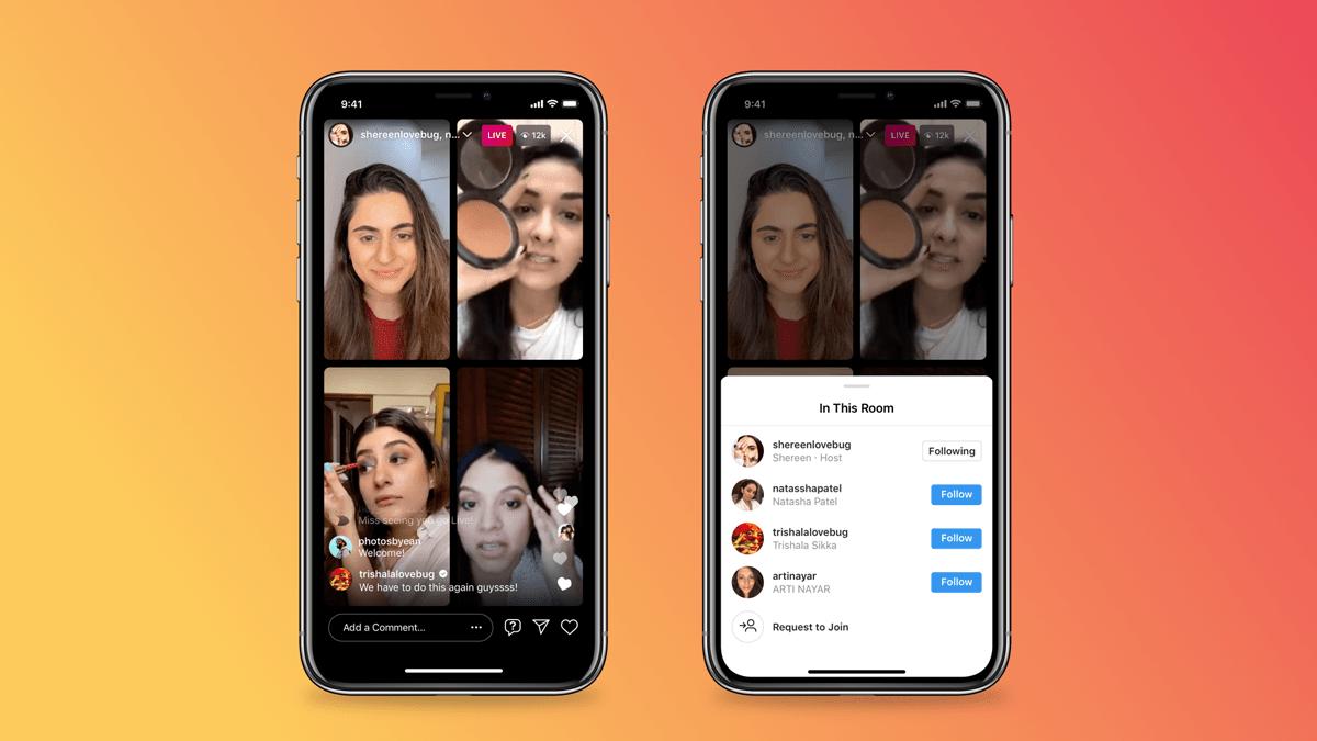 Pantalla de salas de Instagram Live y opción de agregar personas