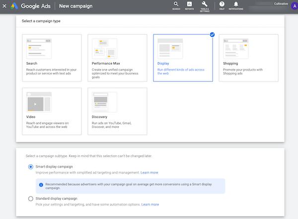 actualizaciones de anuncios de google 2021 septiembre: configuración de la campaña de display en el administrador de anuncios de google