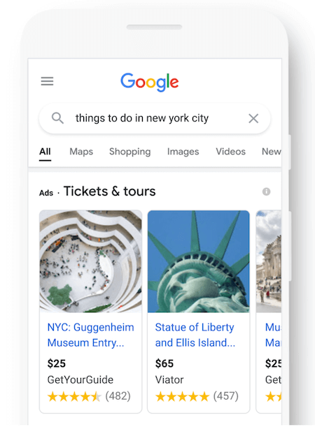 actualizaciones de anuncios de Google en septiembre de 2021: ejemplos de anuncios de viajes