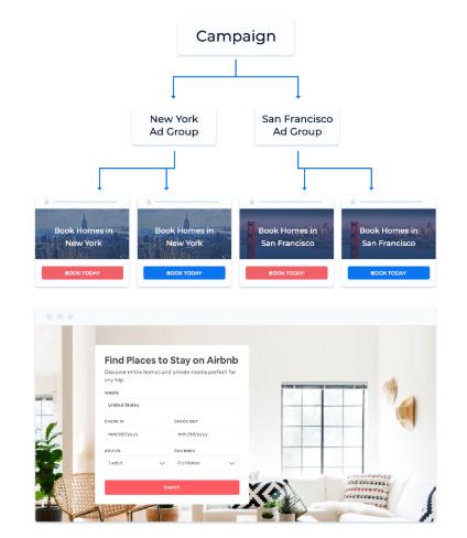página única de personalización de airbnb