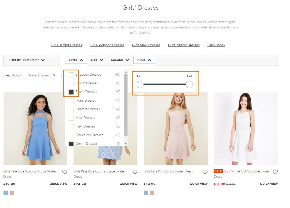 Ejemplo de uso de varias funciones de diseño para filtros de búsqueda