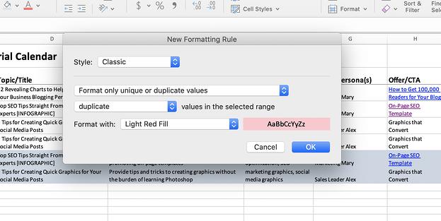 Captura de pantalla de Excel de las reglas de formato.
