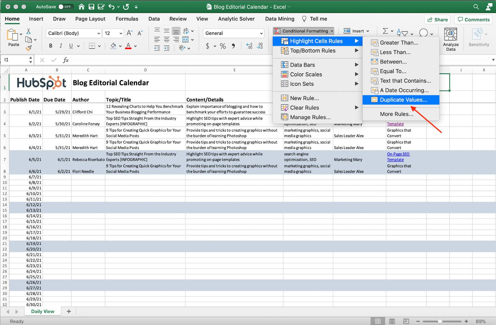 Captura de pantalla de la eliminación de valores duplicados en Excel.
