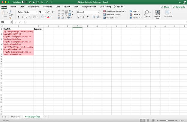Hoja de Excel contada con duplicados.