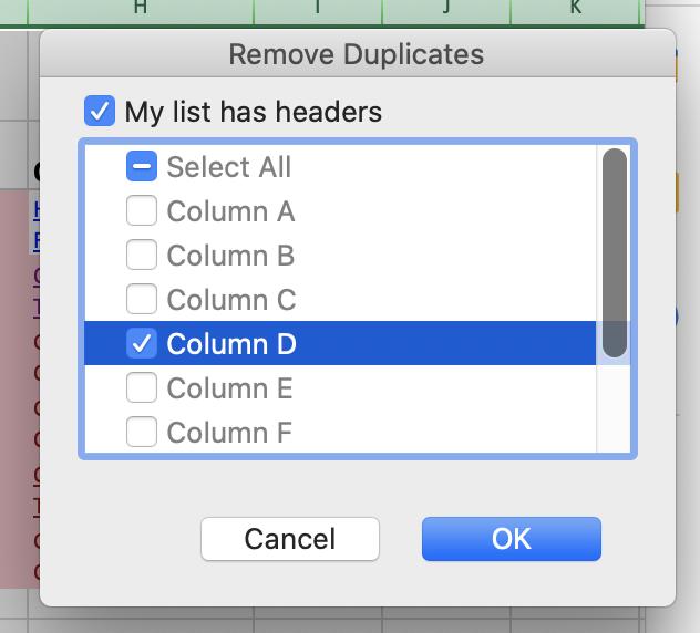 Elimina el selector de columnas de duplicados en Excel.