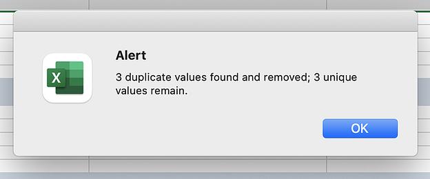 Captura de pantalla de una alerta de Excel.