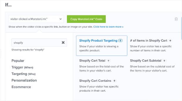 Reglas de segmentación de OptinMonster para Shopify