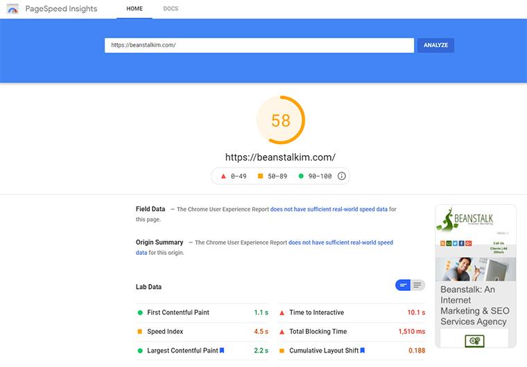 Puntuación de PageSpeed Insights con Hummingbird.