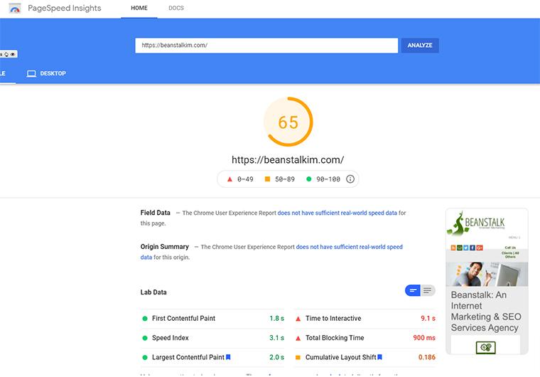 PageSpeed Insights en el sitio web de Beanstalk con la versión gratuita de Cloud Flare.