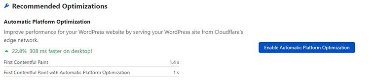 Habilite la optimización automática de la plataforma en Cloud Flare.