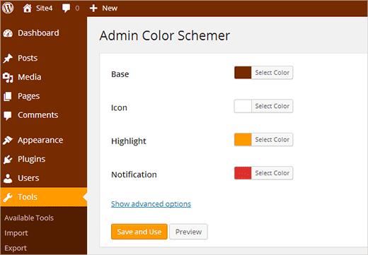 Complemento Admin Color Schemer