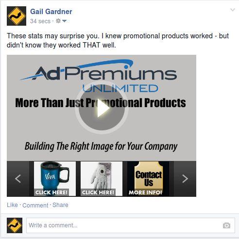 Video de productos promocionales ilimitados de Ad Premiums visible en Facebook