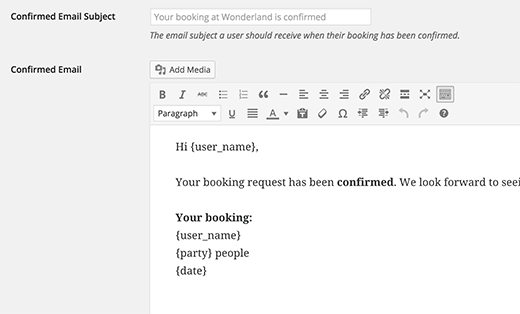 Plantillas de correo electrónico para notificaciones de reserva