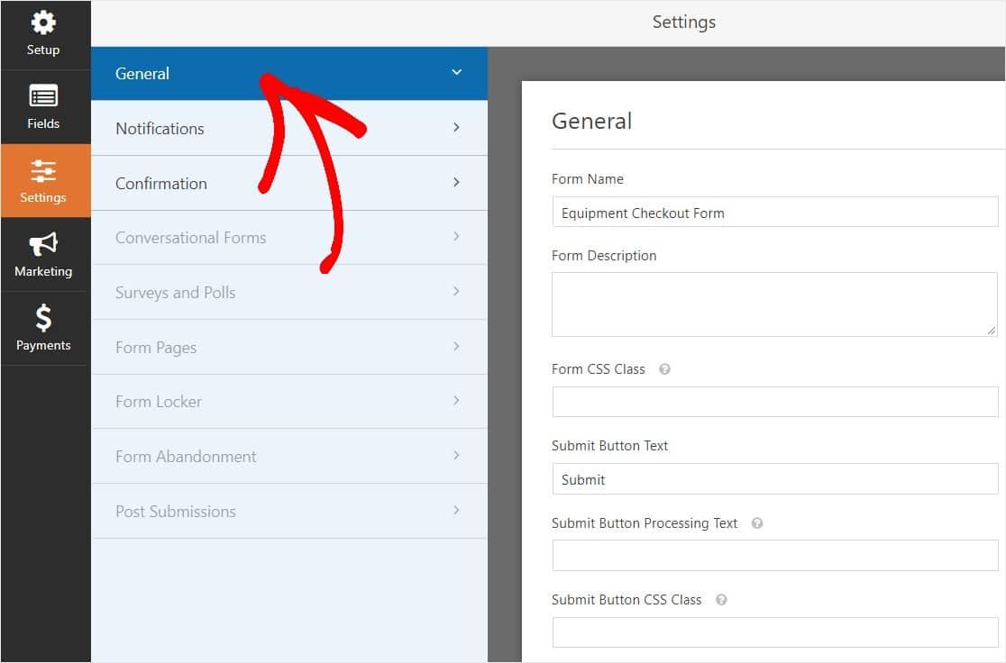 Configuraciones de ajustes generales para el formulario de pago de equipos