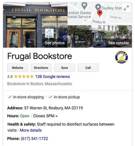 Librería frugal Google My Business