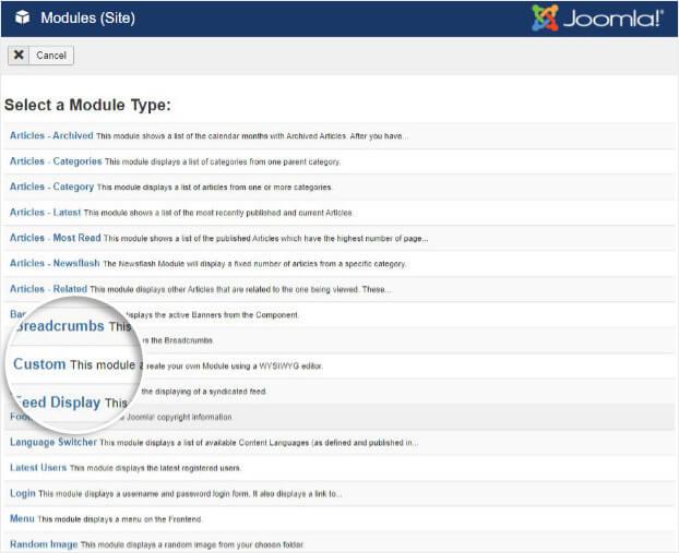 Elija un módulo personalizado en Joomla
