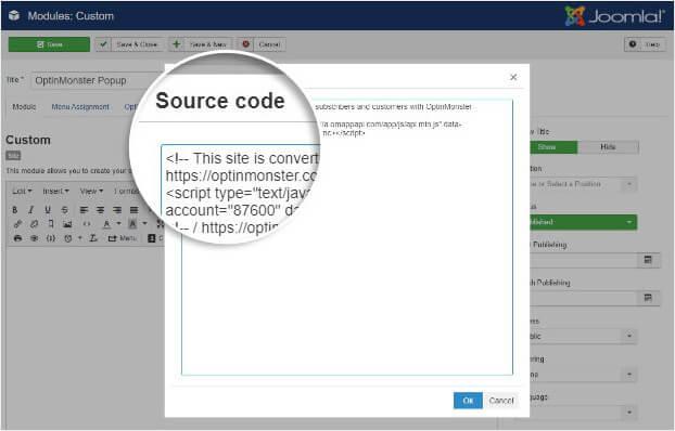 Ventana emergente de código fuente en Joomla