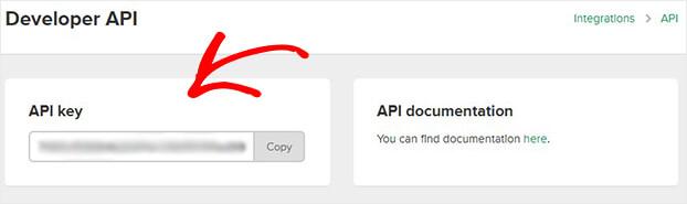 Copiar la clave API de Mailerlite
