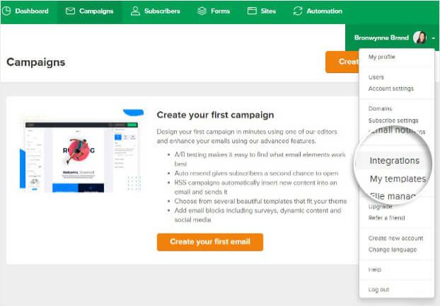 Panel de control de la cuenta de Mailerlite elegir integraciones
