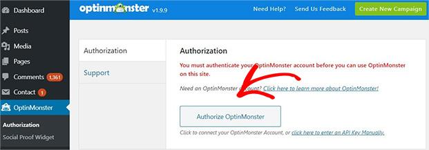 Autorizar OptinMonster en WordPress
