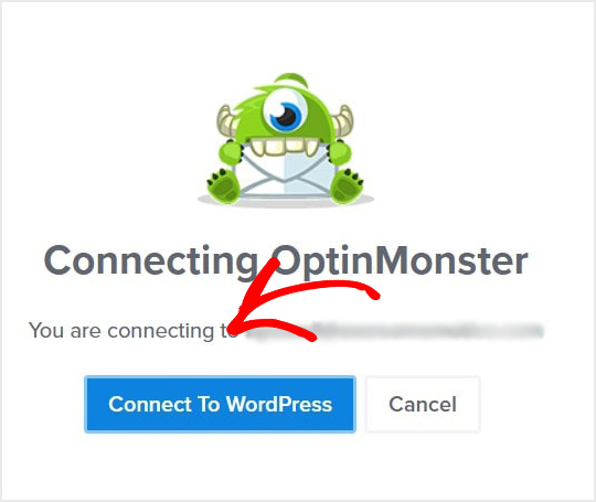 Conectando al mensaje de la pantalla de WordPress