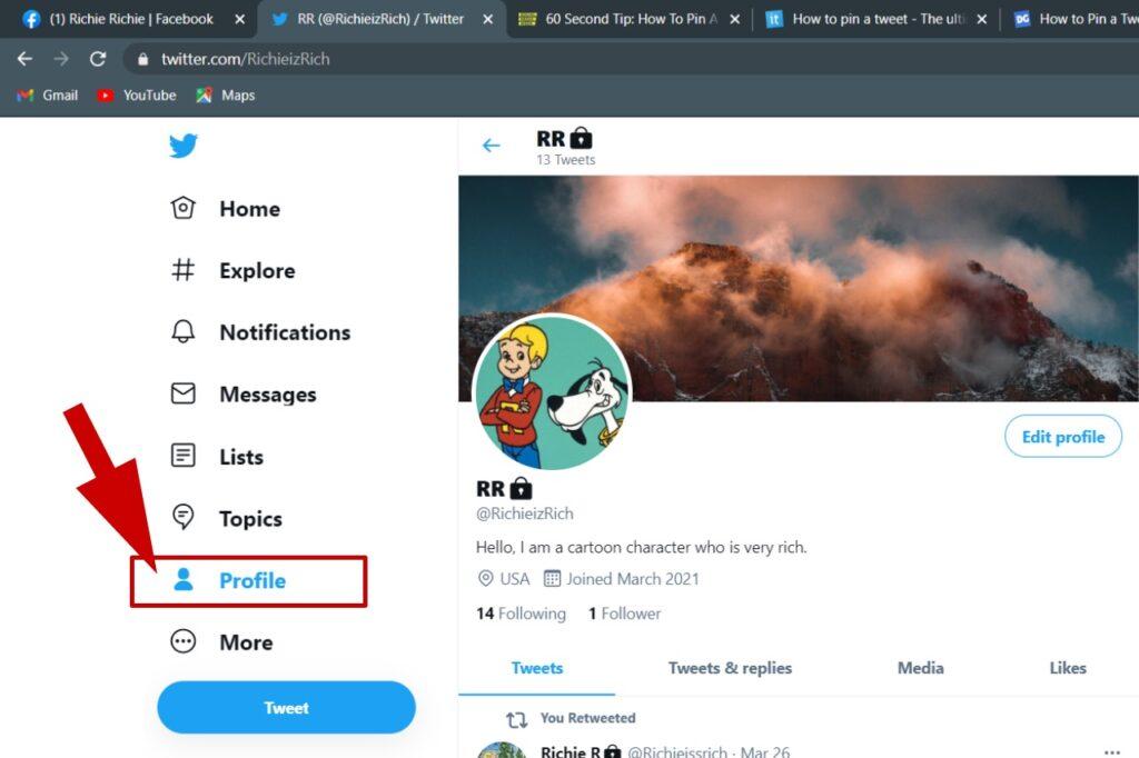 Haga clic en Twitter botón de perfil