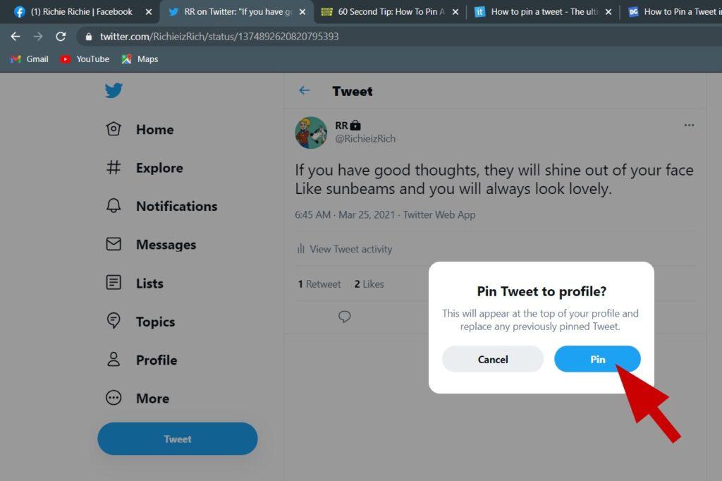 Pin tweet en tu Twitter perfil