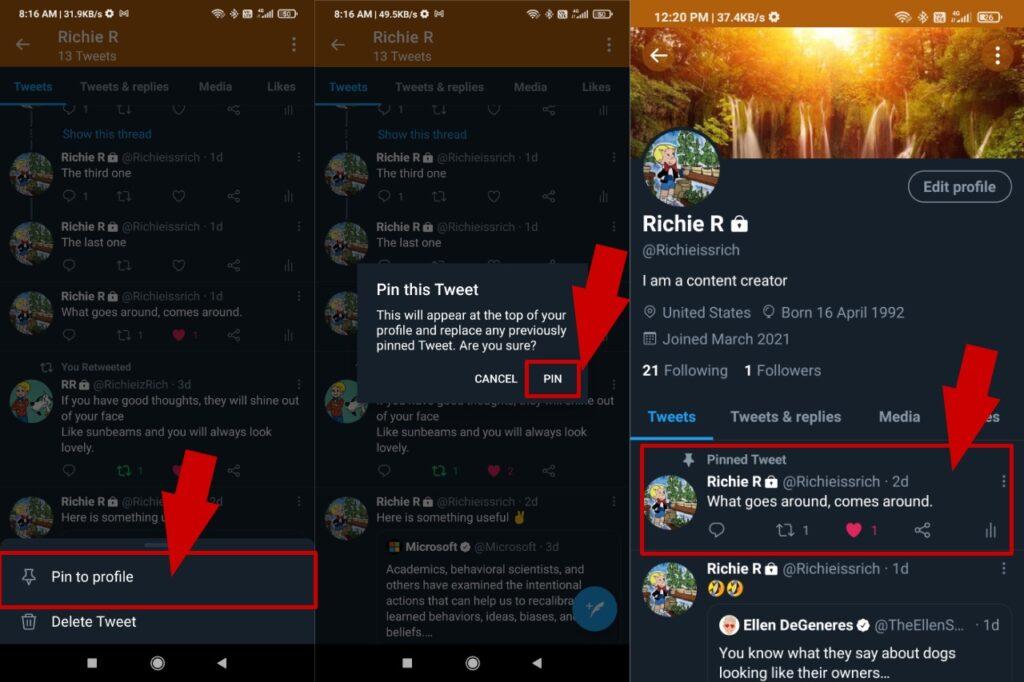 Pin tweet en el perfil de Twitter mientras usa Android