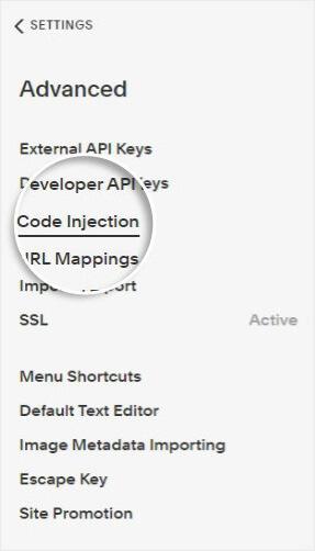 Selección de inyección de código de Squarespace