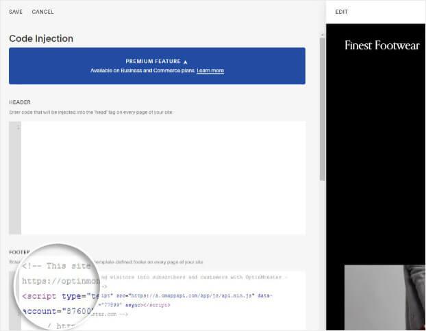 Pegue el código de inserción de OptnMonster en el pie de página de Squarespace