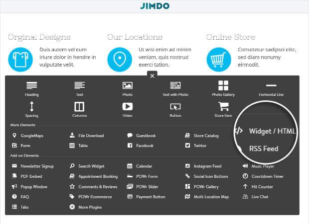 Seleccione el widget HTML en Jimdo