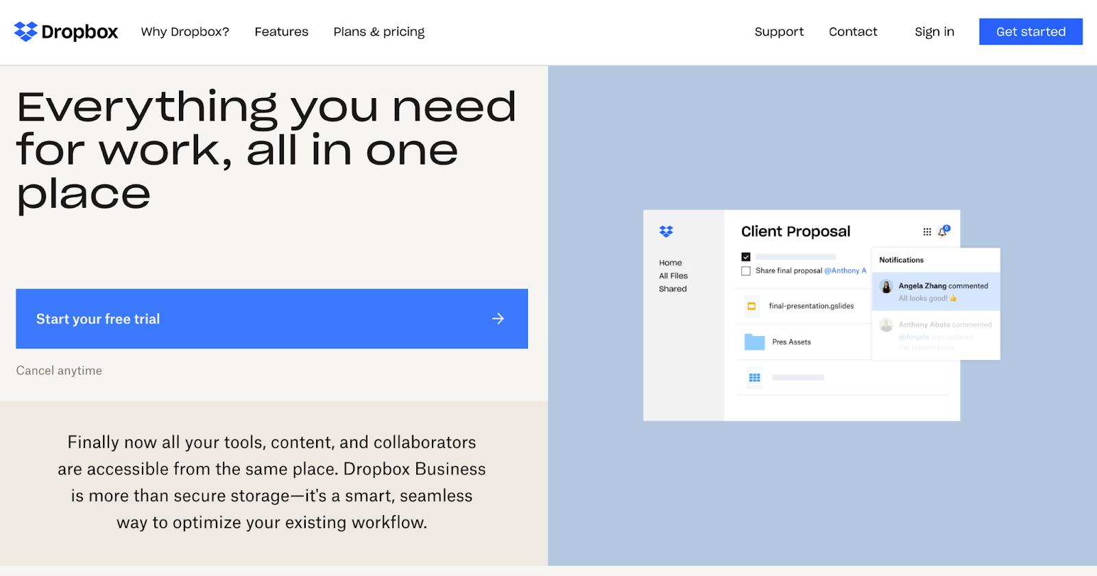 Página de inicio del sitio web de Dropbox