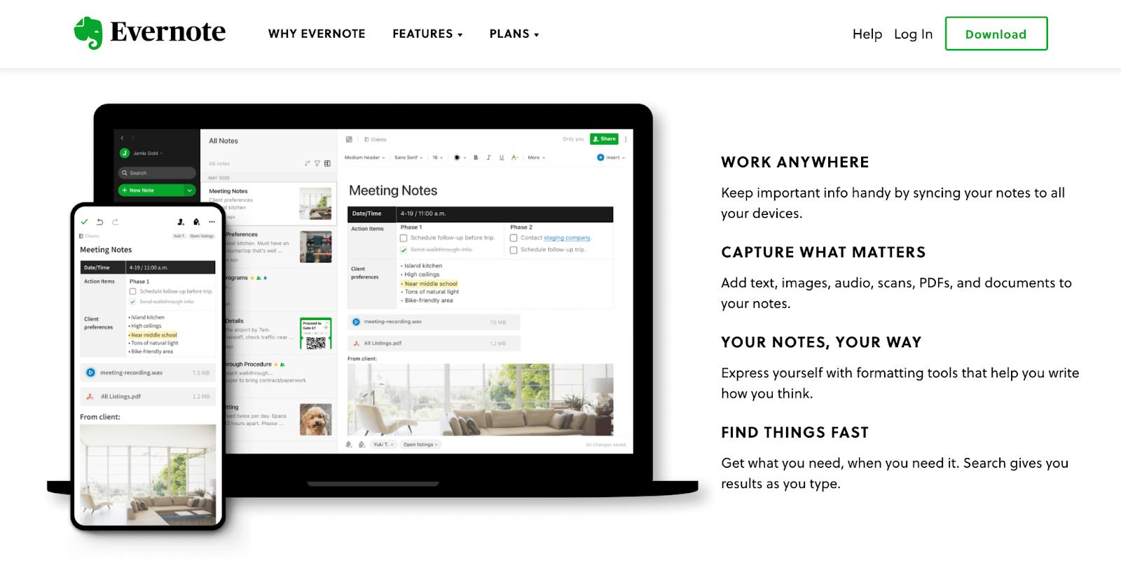 Beneficios de la página de inicio del sitio web de Evernote