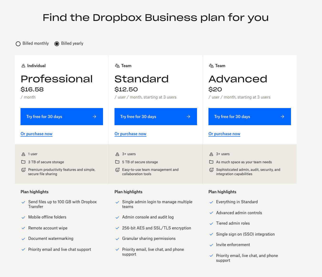 Dropbox para funciones de la página de inicio del sitio web empresarial