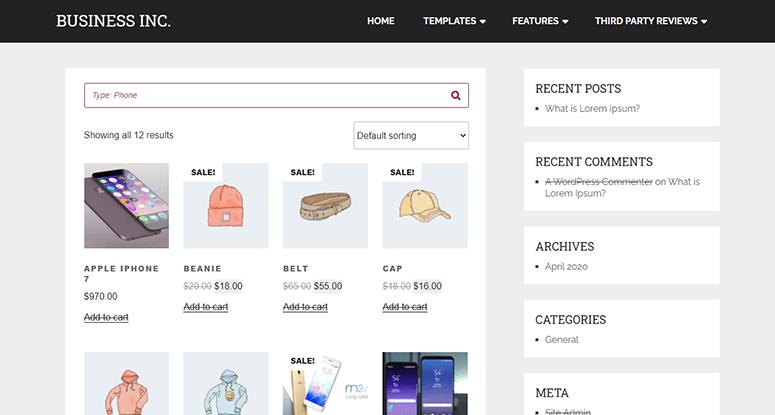 Widget de búsqueda en el sitio web