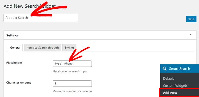 Agregar nuevo widget de búsqueda