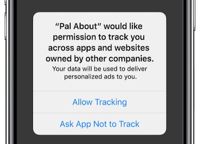API de conversiones de Facebook: ejemplo de transparencia de seguimiento de la aplicación iOS 14