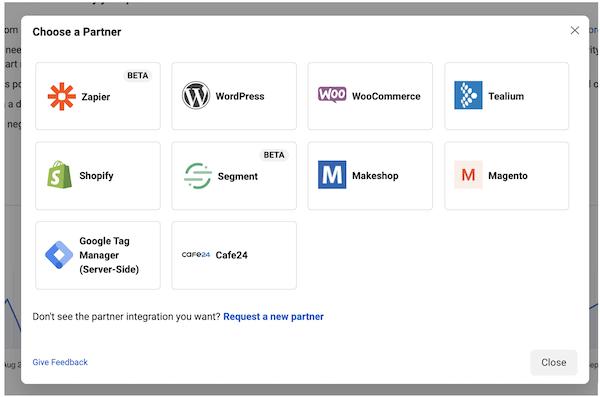 Integraciones de socios de Facebook para configurar la API de conversiones de Facebook